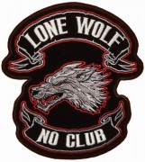 The classic lone wolf no club patch by Good Sports. Definitely a number 1 seller.
