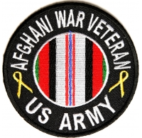 Afghani War Veteran US Army Round Patch | Embroidered Patches