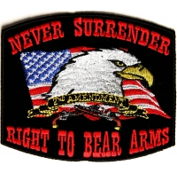 Never Surrender Black 2nd Amendment Patch | US Military Veteran Patches