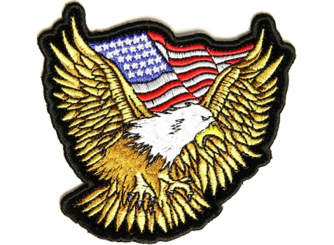 Gold Eagle Patch With US Flag Small