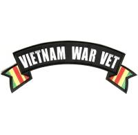 Vietnam War Vet Rocker Patch With Flags | US Military Vietnam Veteran Patches