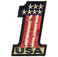 Number 1 USA Vintage Flag and Stars Patch | US Military Veteran Patches