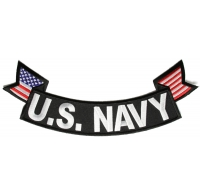 US Navy Large Bottom Flag Rocker Patch | US Navy Military Veteran Patches