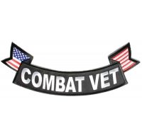 Combat Vet Large Lower Rocker Patch with Flags | US Marine Corps Military Veteran Patches