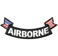 Airborne Large Lower Rocker Patch with Flags | US Army Military Veteran Patches