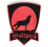 Wolfpack Patch in Red with Howling Moon | Embroidered Biker Patches