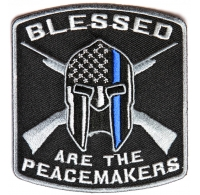Blessed are the Peacemakers Thin Blue Line Patch for Law Enforcement | Embroidered Patches