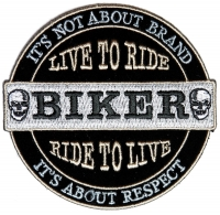 It's Not About Brand, IT's about Respect Biker Patch Small | Embroidered Biker Patches
