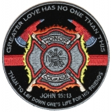 No Greater Love Firefighter Small Patch   Embroidered Patches