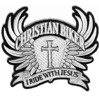 Small Christian Biker Patch I Ride With Jesus   Embroidered Biker Patches