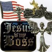 Religious biker pins