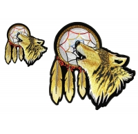 Lone Wolf with Dream Catcher 2 Piece Small and Large Patch Set
