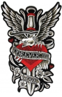 Eagle Dagger Heart Forever in Love Large Ladies Patch | Embroidered Biker Patches