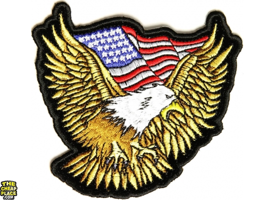 Gold Eagle Patch With US Flag Small | Embroidered Biker Patches