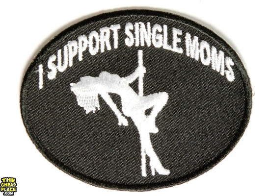 I Support Single Moms Funny Biker Patch | Embroidered Patches