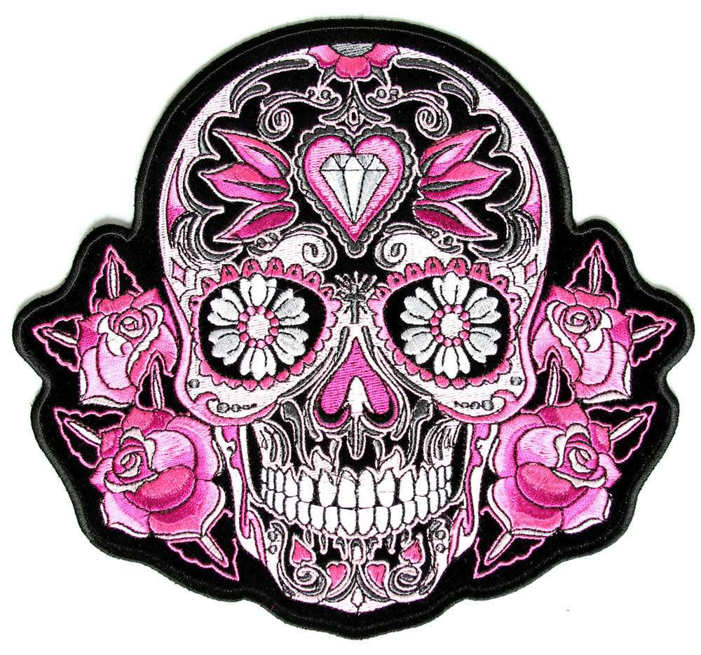 Skulls Tattoo Design Wallpaper: Pink Roses Sugar Skull Patch, Embroidered Iron On Patch