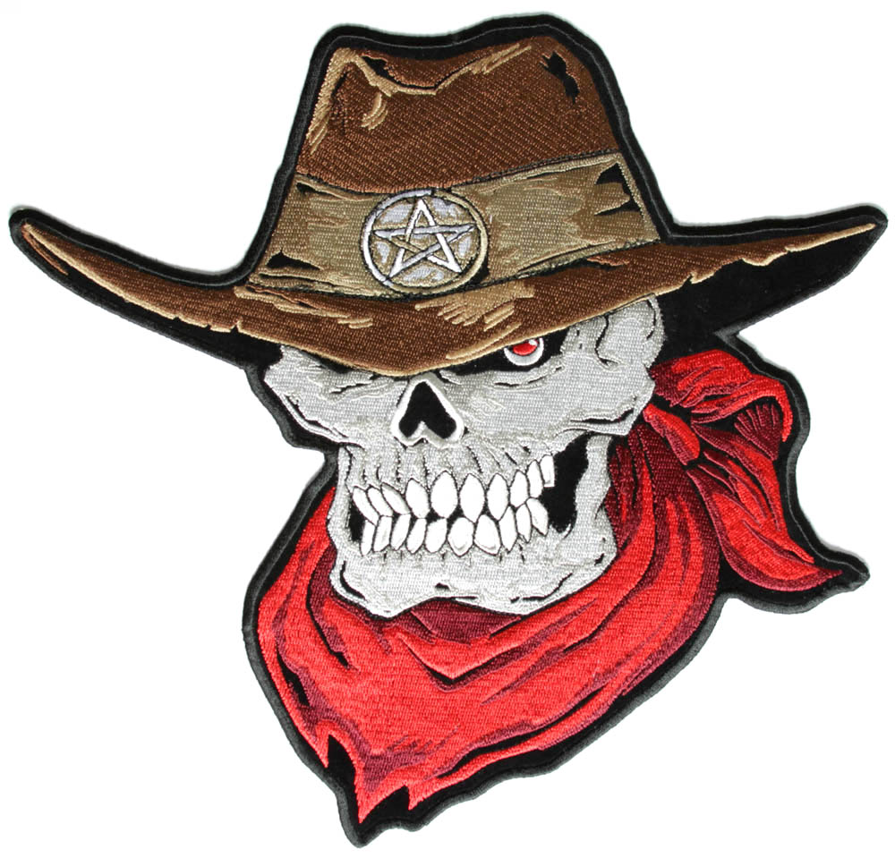 Biker Patches Skulls Cross Bones Large Back Patches Eagle Patches ... Outlaw Cowboy Skull