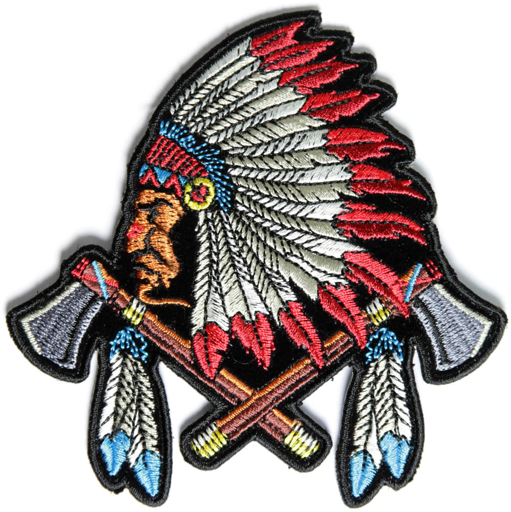 Indian Chief Head Indian feather hat patch
