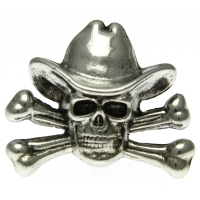 Skull Cross Bone Cowboy Pin