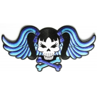 Pigtails Bow Skull And Wings Large Blue Patch | Embroidered Patches