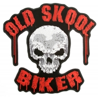 Old Skool Biker Skull Patch Large Back Patch | Embroidered Biker Patches