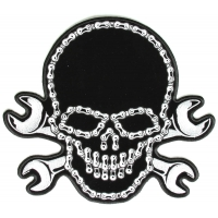Large Wrench Chain Skull Patch | Embroidered Patches