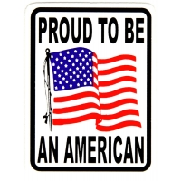 Proud To Be An American With Wavy Flag Sticker