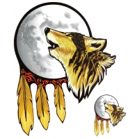 Howling Wolf With Moon Sticker