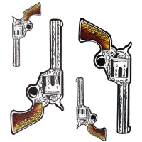 Gun 6 Shooter Pistol Stickers