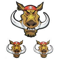 Biker Hog With Red Skull Bandana Sticker