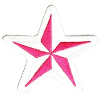 Pink And White Star Patch | Embroidered Patches