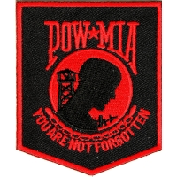 POW MIA Patch Black Red | US Military Veteran Patches