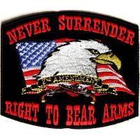 Never Surrender Black 2nd Amendment Patch | US Military Veteran Patches
