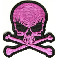 Pink Skull And Cross Bones Patch | Embroidered Patches