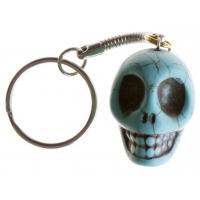 Peruvian Bead Turquoise Skull Key Chain