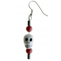 Red Peruvian Bead Skull Ear Ring