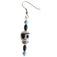 Black And Turquoise Peruvian Bead Skull Ear Ring
