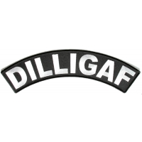 Dilligaf Large Black White Rocker Patch | Embroidered Biker Patches