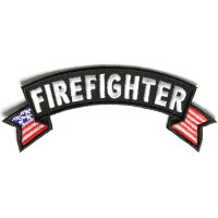 Firefighter US Flag Small Rocker Patch | Embroidered Patches