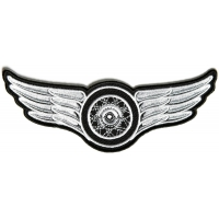 Winged Wheel Small White Patch | Embroidered Biker Patches