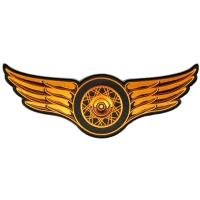Winged Wheel Orange Large Back Patch | Embroidered Biker Patches