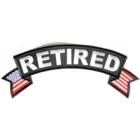 Retired Large Top Rocker With US Flags Patch | US Military Veteran Patches