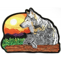 Wolf And Cubs Large Patch | Embroidered Patches