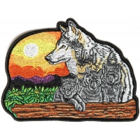 Wolf And Cubs Medium 6 Inch Patch | Embroidered Patches