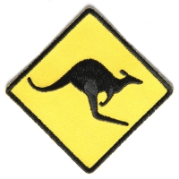 Kangaroo Sign Patch Yellow And Black | Embroidered Patches