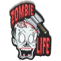 Zombie Life Small Patch With Axed Zombie | Embroidered Patches