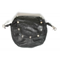 Black Leather Clip On Ladies Purse