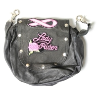 Leather Clip On Bag With Pink Lady Rider Patch