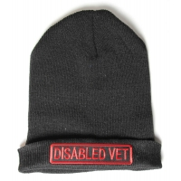 Disabled Vet Patch Ironed On Black Beanie Hat
