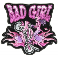 Bad Girl Wheeley Biker Small Patch | Embroidered Biker Patches